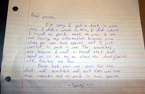"The Best Parking Lot ""Apology"" Note of All Time"
