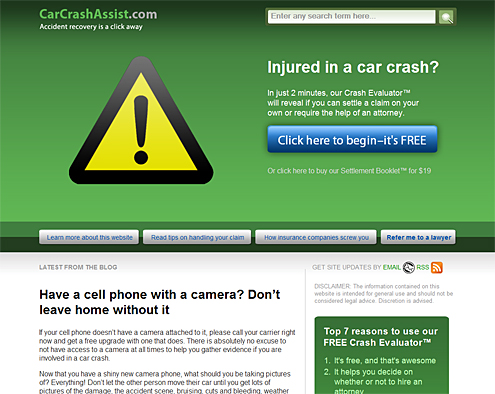 carcrashassist.com homepage (August 2009)