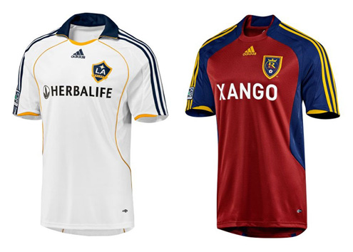 2009 LA Galaxy jersey sponsored by Herbalife and 2009 Real Salt Lake jersey sponsored by XanGo