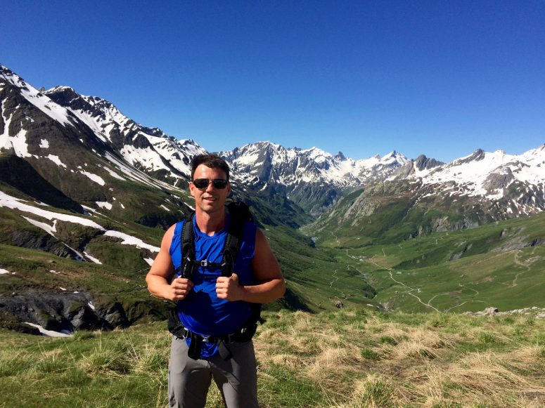 My buddy Wesley hiking his way into France