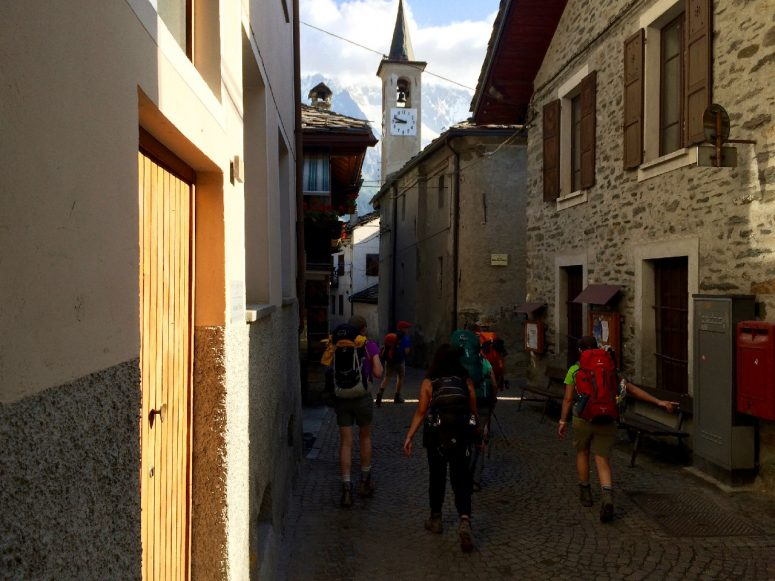 Hiking through the streets of Courmayeur, Italy with my party of 12