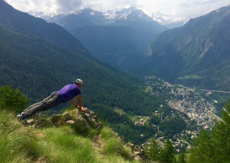 Me overlooking the city of Courmayeur, Italy